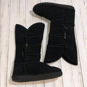 Bearpaw long suede boots with side toggle buttons